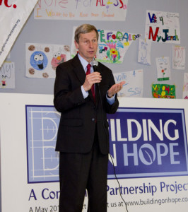 The Honorable Governor John Lynch giving a speech during the reveal event.
